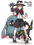 1girl black_shoes black_skirt blush bow bowtie brown_hair buttons capelet english fedora full_body hat hat_bow holding holding_poke_ball legs long_sleeves looking_at_viewer murkrow necktie poke_ball pokemon pokemon_(creature) red_bow red_bowtie red_eyes shiroshi_(denpa_eshidan) shirt shoes short_hair simple_background skirt smile sneakers standing tangrowth touhou umbreon usami_renko white_background white_bow white_shirt