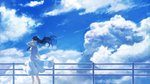 1girl bare_arms black_hair blue_sky blue_theme cloud condensation_trail day dress floating_hair from_side hand_in_hair kuune_(muttey-myg) long_hair original outdoors railing scenery sky sleeveless sleeveless_dress solo standing sundress very_long_hair white_dress wide_shot wind
