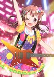 1girl ;d absurdres arm_up bang_dream! bangs blurry blurry_background brown_hair commentary_request confetti cowboy_shot electric_guitar frilled_sleeves frills guitar hair_ornament highres instrument long_hair looking_at_viewer momono_aya multicolored multicolored_clothes multicolored_shirt multicolored_skirt one_eye_closed open_mouth polka_dot purple_eyes sailor_collar skirt smile solo star star_hair_ornament suspenders toyama_kasumi