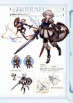 1girl armor armored_boots belt blue_eyes boots breastplate character_name chibi closed_eyes concept_art farrah_(granblue_fantasy) full_body gauntlets granblue_fantasy highres holding holding_sword holding_weapon lineart looking_at_viewer minaba_hideo official_art open_mouth pantyhose pleated_skirt scan shield short_hair shoulder_pads simple_background skirt standing sword thighhighs weapon white_hair