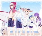 androgynous aqua_eyes baseball_cap beach blonde_hair blue_hair blue_sky blurry bracelet choker closed_eyes cloud commentary commentary_request cowboy_shot darling_in_the_franxx day depth_of_field food gradient_clothes green_eyes green_hair grey_hair hand_in_pocket hand_on_headwear hand_on_hip hand_on_thigh hat heart ice_cream ice_cream_cone jacket jewelry mask mt.somo nine_alpha_(darling_in_the_franxx) nine_beta nine_delta nine_epsilon nine_eta nine_gamma nine_theta nine_zeta ocean open_clothes open_shirt outdoors purple_hair red_eyes red_hair sand_sculpture school_uniform shirt shorts sky smile standing straw_hat sunglasses surfboard track_jacket triplets white_shirt