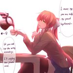 2girls absurdres artist_name blue_skirt bow brown_hair chair coffee coffee_mug coffee_pot cup doki_doki_literature_club elbows_on_table engrish green_eyes hard_translated highres long_hair looking_at_another looking_to_the_side monika_(doki_doki_literature_club) mug multiple_girls open_mouth out_of_frame pin.s ponytail pouring ranguage saucer school_uniform sitting skirt smile solo_focus speech_bubble table thighhighs venus_symbol very_long_hair yuri