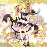 1girl :d absurdly_long_hair andrea_doria_(zhan_jian_shao_nyu) animal_ears apron bangs bell bendy_straw black_footwear black_skirt blonde_hair blue_eyes bow cake candy_wrapper cannon cat_ears cat_girl cat_tail commentary_request cookie cup drink drinking_glass drinking_straw eyebrows_visible_through_hair fang food frilled_apron frills hair_between_eyes hand_on_hip head_tilt highres holding holding_tray jianren jingle_bell kneehighs long_hair looking_at_viewer maid maid_headdress muffin open_mouth puffy_short_sleeves puffy_sleeves red_bow ribbed_legwear ringlets shirt shoes short_sleeves sidelocks skirt smile solo standing tail tail_bell tail_bow thick_eyebrows tiered_tray tray turret twintails v-shaped_eyebrows very_long_hair waist_apron white_apron white_legwear white_shirt wrist_cuffs zhan_jian_shao_nyu zoom_layer