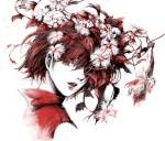 1girl flower hair_over_one_eye looking_back meiko portrait red_eyes red_hair solo traditional_media vocaloid yokan