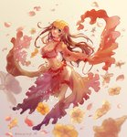1girl bangle bangs bracelet breasts brown_hair choker cleavage commentary_request crop_top dancer earrings eyebrows_visible_through_hair falling_petals fate/grand_order fate_(series) floral_background flower frills grey_eyes hair_flower hair_ornament highres hoop_earrings jewelry large_breasts long_hair looking_at_viewer mata_hari_(fate/grand_order) medium_breasts midriff navel one_eye_closed open_mouth orange_skirt petals pink_flower puffy_short_sleeves puffy_sleeves red_flower revealing_clothes rose sash see-through shawl short_sleeves sidelocks simple_background skirt skirt_set smile solo standing thigh_strap tsumugi_(soraki) twitter_username veil white_flower wrist_cuffs yellow_flower