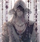 1boy au_ra blonde_hair blue_eyes blurry blurry_background chest closed_mouth commentary_request detached_hood detached_sleeves dragon_horns expressionless feathers final_fantasy final_fantasy_xiv hair_between_eyes hood hood_up horns jewelry lips looking_at_viewer male_focus necklace one_eye_covered pendant scales senano-yu shirt solo turban upper_body