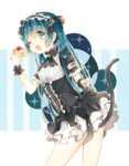 1girl aqua_eyes aqua_hair cake cat_tail dress food hatsune_miku one_eye_closed open_mouth solo tail vocaloid