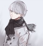 1boy erm_(doubledream) grey_eyes grey_hair highres looking_at_viewer male_focus narukami_yuu persona persona_4 scarf short_hair smile solo winter_clothes