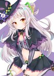 1girl absurdres breasts capelet commentary_request crop_top hair_bun hands_on_hips hat highres hololive long_hair looking_at_viewer midriff murasaki_shion navel rokita seiza sitting small_breasts smile solo striped striped_legwear thighhighs virtual_youtuber witch_hat yellow_eyes