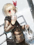 1girl alternate_costume bag blonde_hair hair_ribbon highres jacket long_sleeves looking_at_viewer manjuu red_eyes revision ribbon rumia scarf shopping_bag shoulder_bag smile snowing solo spark621 touhou winter_clothes