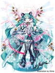 1girl :d absurdly_long_hair alternate_costume aqua_eyes aqua_hair bare_shoulders bell black_legwear black_skirt boots breasts center_opening detached_sleeves full_body hatsune_miku headgear ixima jingle_bell long_hair long_sleeves looking_at_viewer magician_wiz_(game) microphone open_mouth outstretched_arms shirt skirt sleeveless sleeveless_shirt small_breasts smile solo thigh_boots thighhighs twintails very_long_hair vocaloid zettai_ryouiki