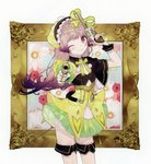 1girl absurdres atelier_(series) atelier_lydie_&_suelle blush bow dual_wielding gloves gun hairband handgun highres holding holding_gun holding_weapon huge_filesize long_hair looking_at_viewer noco_(adamas) official_art one_eye_closed painting_(object) pistol scan solo suelle_marlen trigger_discipline weapon wrist_cuffs yellow_bow