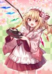 1girl :d absurdres alternate_costume alternate_headwear anmitsu_(dessert) apron bangs blonde_hair blush bow bowl checkered checkered_background cherry cherry_blossoms cowboy_shot crystal eyebrows_visible_through_hair flandre_scarlet floral_print flower food frilled_apron frills fruit hair_between_eyes hair_bow hair_flower hair_ornament highres holding holding_tray japanese_clothes kimono kure~pu long_hair looking_at_viewer maid_apron maid_headdress one_side_up open_mouth pink_flower pink_kimono pleated_skirt red_bow red_eyes red_skirt skirt smile solo spoon standing touhou tray wa_maid waitress white_apron wings