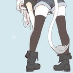 1girl animal_ears black_legwear blue_background boots cat_ears cat_tail final_fantasy final_fantasy_xiv leaning_forward legs_apart lili_mdoki long_hair looking_at_viewer looking_back miqo'te red_eyes shorts signature sketch solo standing tail thighhighs white_hair