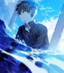 1boy all_fours artist_name bangs blue_sky brown_hair closed_mouth cloud cloudy_sky day dutch_angle eyebrows_visible_through_hair followers gakuran green_eyes hyouka long_sleeves male_focus oreki_houtarou outdoors partially_underwater_shot school_uniform short_hair signature sky smile solo sukja