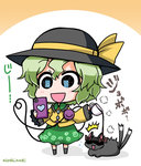 /\/\/\ 1girl :3 :d black_eyes black_hat bow brown_bow cat cellphone chibi coffee commentary_request cup flying_sweatdrops frilled_shirt_collar frilled_sleeves frills green_hair green_skirt hair_between_eyes hat hat_ribbon heart heart_of_string holding holding_cup holding_phone kaenbyou_rin kaenbyou_rin_(cat) komeiji_koishi long_sleeves lying multiple_tails noai_nioshi open_mouth phone ribbon shaded_face shadow shirt short_hair skirt smartphone smile spilling standing steam string tail third_eye touhou translation_request twitter_username two-tone_background two_tails wide_sleeves yellow_ribbon yellow_shirt