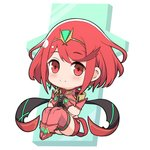 1girl bangs chibi covered_navel earrings fingerless_gloves gloves headpiece homura_(xenoblade_2) jewelry looking_at_viewer mochimochi_(xseynao) red_eyes red_hair red_shorts short_hair shorts shoulder_armor smile solo swept_bangs tiara xenoblade_(series) xenoblade_2