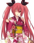 1girl ;p bangs black_ribbon cowboy_shot date_a_live eyebrows_visible_through_hair floral_print flower hair_between_eyes hair_ribbon hibiki_mio holding_lollipop itsuka_kotori japanese_clothes kimono long_hair obi one_eye_closed pink_flower red_hair red_kimono ribbon sash simple_background solo standing tongue tongue_out twintails very_long_hair white_background yukata