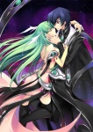 1boy 1girl black_hair black_legwear c.c. cape code_geass couple creayus detached_sleeves dress green_hair hetero highres hug jewelry lelouch_lamperouge long_hair purple_eyes space star thighhighs topless yellow_eyes