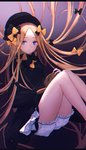 1girl abigail_williams_(fate/grand_order) absurdres bangs black_bow black_dress black_headwear blonde_hair blue_eyes bow closed_mouth dress fate/grand_order fate_(series) floating_hair frilled_shorts frills hair_bow hat highres long_hair long_sleeves looking_at_viewer multiple_hair_bows parted_bangs short_dress short_shorts shorts shorts_under_dress solo stuffed_animal stuffed_toy teddy_bear very_long_hair white_shorts xeonomi yellow_bow