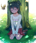 1girl absurdres akagi_miria bird black_hair blush closed_eyes collarbone commentary_request day highres idolmaster idolmaster_cinderella_girls long_sleeves red_skirt seneto short_hair sitting skirt sleeping solo tree two_side_up v_arms wariza