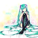 1girl absurdly_long_hair absurdres aqua_hair bare_shoulders boots character_name closed_eyes crossed_legs hair_over_one_eye hands_on_own_knee hatsune_miku headset highres knee_to_chest long_hair long_twintails smile solo thigh_boots thighhighs thighs twintails very_long_hair vocaloid