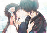1boy 1girl beads brown_hair closed_eyes commentary_request couple flower grey_hair hair_flower hair_ornament hand_on_another's_cheek hand_on_another's_chest hand_on_another's_face highres imminent_kiss japanese_clothes kimono kinoebi kiss long_hair original patterned_clothing short_hair single_tear tassel tears