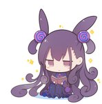 1girl :> bangs beni_shake black_dress blush_stickers book brown_eyes brown_hair chibi closed_mouth colored_shadow commentary_request dress eyebrows_visible_through_hair fate/grand_order fate_(series) full_body hair_ornament holding holding_book long_hair long_sleeves murasaki_shikibu_(fate) open_book reading shadow sitting smile solo sparkle striped two_side_up vertical-striped_dress vertical_stripes very_long_hair white_background wide_sleeves