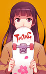 1girl brown_eyes brown_hair covering_mouth em long_hair looking_at_viewer original skateboard solo