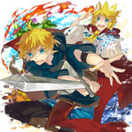 1boy 1girl :d >:d ahoge blonde_hair blue_eyes blush casting_spell chest_plate crown fire foreshortening glint hair_ornament hairclip holding_sword kagamine_len kagamine_rin kazutake_hazano magic neckerchief open_mouth pixelated red_cape short_hair smile sweatdrop vocaloid wide_sleeves