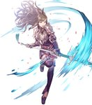 1girl armor bangs belt boots breastplate brown_eyes brown_hair closed_mouth dress elbow_gloves fire_emblem fire_emblem:_kakusei fire_emblem_heroes full_body garter_straps gauntlets gloves hair_ornament highres holding holding_weapon leg_up long_hair official_art open_mouth petals pikomaro polearm short_dress shoulder_armor shoulder_pads sidelocks solo spear sumia thighhighs transparent_background weapon zettai_ryouiki