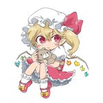 1girl artist_request blonde_hair bloomers blush_stickers bow commentary_request doll_hug fang fang_out flandre_scarlet frilled_skirt frills hat highres mob_cap puffy_short_sleeves puffy_sleeves red_bow red_eyes red_footwear red_skirt red_vest shirt shoes short_hair short_sleeves side_ponytail simple_background skirt solo stuffed_animal stuffed_toy teddy_bear touhou underwear vest white_background white_shirt wings yellow_bow
