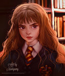 1girl artist_name bangs blunt_bangs blurry blurry_background book bookshelf brown_eyes brown_hair closed_mouth collared_shirt emblem gryffindor harry_potter hermione_granger long_hair looking_at_viewer md5_mismatch necktie numyumy portrait realistic red_lips school_uniform serious shirt solo striped striped_neckwear thick_eyebrows upper_body watermark wavy_hair web_address white_shirt wing_collar