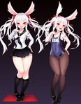 2girls absurdres animal_ears ass_visible_through_thighs black_background black_footwear black_legwear blush bunny_ears collarbone covered_navel elin_(tera) grimgrim hair_ribbon high_heels highres hips kneehighs legs long_hair looking_at_viewer mary_janes multiple_girls name_tag naughty_face old_school_swimsuit one-piece_swimsuit open_mouth pantyhose pantyhose_under_swimsuit red_eyes red_ribbon ribbon school_swimsuit school_uniform serafuku shirt shoes simple_background skirt smile standing swimsuit tera_online tongue tongue_out twintails variations white_hair wide_hips