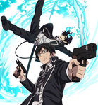 2boys :d >:( aiming ao_no_exorcist belt belt_buckle black-framed_eyewear black_footwear black_hair black_jacket black_pants blue_eyes blue_fire brothers buckle closed_mouth collared_shirt dual_wielding fire flaming_sword foreshortening frown glasses gun handgun highres holding holding_gun holding_sword holding_weapon jacket katana legs_apart looking_at_viewer male_focus midair mole mole_under_eye mole_under_mouth multiple_boys necktie nyoro_(nyoronyoro000) okumura_rin okumura_yukio open_clothes open_jacket open_mouth outstretched_arm pants pistol pointy_ears serious shirt shoes siblings simple_background smile striped striped_neckwear sword tail unsheathed upper_body v-shaped_eyebrows weapon weapon_request white_background white_shirt wing_collar