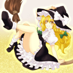 1girl akasata bad_id bad_pixiv_id blonde_hair bow broom frills grin hair_bow hat hat_bow kirisame_marisa long_hair mary_janes puffy_sleeves shoes short_sleeves smile solo sparkle touhou white_bow witch_hat yellow_eyes