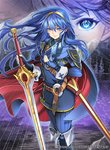 1girl belt blue_eyes blue_hair cape closed_mouth commentary_request company_name copyright_name falchion_(fire_emblem) fingerless_gloves fire_emblem fire_emblem_awakening fire_emblem_cipher gloves holding holding_sword holding_weapon long_hair long_sleeves lucina mask official_art scabbard sheath solo sword tiara toyo_sao weapon