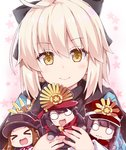 1boy 3girls :d >_< ahoge bangs black_bow black_hair black_hat black_scarf blush bow brown_eyes brown_hair chacha_(fate/grand_order) chibi closed_eyes closed_mouth commentary_request eyebrows_visible_through_hair family_crest fate/grand_order fate_(series) hair_between_eyes hair_bow haori hat japanese_clothes koha-ace light_brown_hair long_hair long_sleeves minigirl multiple_girls o_o object_hug oda_nobukatsu_(fate/grand_order) oda_nobunaga_(fate) oda_uri okita_souji_(fate) open_mouth peaked_cap red_hat red_scarf rioshi scarf smile wavy_mouth xd
