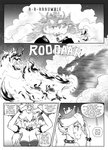 1boy 1girl adjusting_headwear angry armpits bangs bare_shoulders bowser bowsette bracelet breasts breathing_fire brooch cleavage collar comic earrings english_text eyebrows_visible_through_hair fire from_side genderswap genderswap_(mtf) greyscale hair_between_eyes highres horns jewelry left-to-right_manga leotard long_hair long_ponytail mario_(series) monochrome new_super_mario_bros._u_deluxe pointy_ears profile sidelocks silhouette skeleton slit_pupils spiked_bracelet spiked_collar spikes strapless strapless_leotard super_crown thick_eyebrows thought_bubble tony_kuusisto transformation