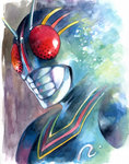 1boy agahari antennae armor calligraphy_brush_(medium) commentary_request full_armor helmet highres kamen_rider kamen_rider_black kamen_rider_black_(series) looking_at_viewer male_focus portrait solo traditional_media