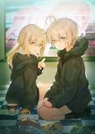 2girls arm_support artoria_pendragon_(all) bag_of_chips bangs black_hoodie black_jacket black_legwear blurry blurry_background blush checkered checkered_floor closed_mouth commentary_request depth_of_field eyebrows_visible_through_hair fate/grand_order fate_(series) fur-trimmed_jacket fur_trim haagen-dazs hair_between_eyes hand_up hands_on_lap hood hood_down hoodie ice_cream_spoon jacket jeanne_d'arc_(alter)_(fate) jeanne_d'arc_(fate)_(all) long_hair long_sleeves looking_at_viewer looking_to_the_side low_twintails multiple_girls nagu no_shoes parted_lips pointing pointing_at_viewer saber_alter seiza silver_hair sitting sleeves_past_wrists snack socks twintails yellow_eyes