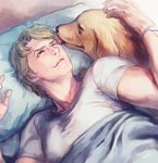 1boy bibirii blonde_hair blue_eyes dog john_(tiger_&_bunny) keith_goodman licking one_eye_closed tiger_&_bunny