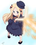 1girl abigail_williams_(fate/grand_order) bangs black_bow black_dress black_footwear black_headwear blonde_hair blue_background blue_eyes blush bow bug butterfly closed_mouth commentary dress fate/grand_order fate_(series) forehead full_body gradient gradient_background hair_bow hat highres insect kujou_karasuma long_hair long_sleeves orange_bow parted_bangs shoes sleeves_past_fingers sleeves_past_wrists solo ssss.gridman v-shaped_eyebrows very_long_hair white_background