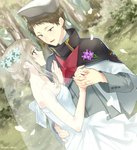 1girl blue_eyes blush breasts bridal_veil brown_hair capelet cleavage commentary_request couple dancing darling_in_the_franxx dress flower grey_hair hair_flower hair_ornament half-closed_eyes hat holding_hands jewelry kokoro_(darling_in_the_franxx) long_sleeves looking_at_another married military military_hat military_uniform mitsuru_(darling_in_the_franxx) outdoors petals ring shiya_(mizushibuki) sleeveless sleeveless_dress smile strapless strapless_dress tied_hair uniform veil wedding wedding_band wedding_dress