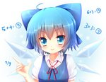 (9) 1girl ahoge blue_eyes blue_hair blush bow cirno hair_bow ice ice_wings kane-neko short_hair solo touhou wings