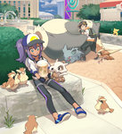 1boy 1girl backpack bag baseball_cap black_gloves black_legwear blue_eyes brown_hair choker city cubone day egg female_protagonist_(pokemon_go) fingerless_gloves gloves hat highres hood hoodie leggings linaria_(ookinahitomi) long_hair male_protagonist_(pokemon_go) nidorina outdoors pidgey pikachu pokemon pokemon_(creature) pokemon_go pokestop ponytail psyduck purple_hair pushing shoes shorts sitting sneakers snorlax visor_cap