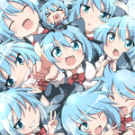 1girl :d :o >_< ^_^ blue_eyes blue_hair blush blush_stickers bow bowtie chibi cirno clenched_hands closed_eyes collared_shirt do_(4-rt) dress fang grin hair_bow happy heart heart_in_mouth hug letter love_letter multiple_persona nervous one_eye_closed open_mouth pointing pointing_at_viewer puffy_short_sleeves puffy_sleeves shirt short_sleeves smile star sweatdrop too_many touhou v v-shaped_eyebrows xd