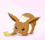 bad_id bad_pixiv_id eevee gen_1_pokemon no_humans open_mouth pikachu playing pokemon pokemon_(creature) shadow shioppbum simple_background smile solo tail toy white_background
