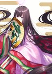 1girl absurdly_long_hair bangs brown_hair commentary_request covered_mouth egasumi eyebrows_visible_through_hair fan fate/grand_order fate_(series) folding_fan glowing gogatsu_fukuin hair_between_eyes highres holding holding_fan japanese_clothes karaginu_mo kimono layered_clothing layered_kimono long_hair long_sleeves murasaki_shikibu_(fate) pink_kimono purple_eyes red_kimono signature sleeves_past_fingers sleeves_past_wrists solo very_long_hair white_background wide_sleeves
