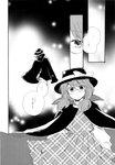 1girl absurdres cape comic fedora glasses greyscale hat highres long_sleeves low_twintails monochrome plaid plaid_skirt plaid_vest scan school_uniform short_hair short_twintails skirt touhou translated twintails usami_sumireko vest yanazuki